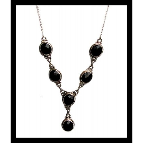 Collier indien argent - Onyx,Colliers indiens