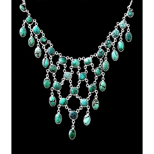 Collier indien argent - Turquoise,Colliers indiens