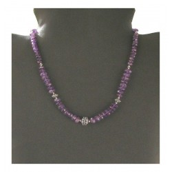 Creation of Indian silver necklace - Amethyst