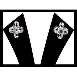 Indian earrings silver rhodium - Amethyst