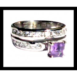 Indian ring silver rhodium - Amethyst