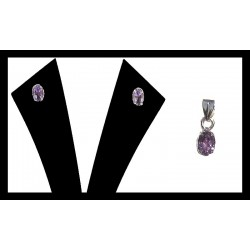 Indian silver pendant set - Amethyst