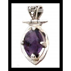Indian silver pendant - Amethyst
