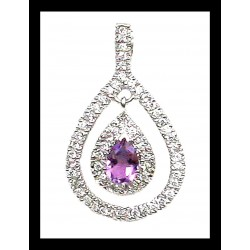 Indian pendant silver rhodium - Amethyst