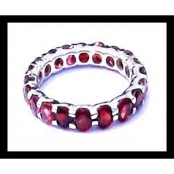 Indian ring silver rhodium - Garnet