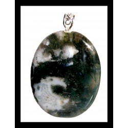 Indian Metal Pendant - Green Moss Agate
