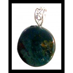 Indian Metal Pendant - Green Jasper