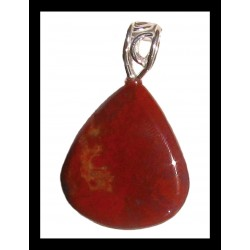 Indian Metal Pendant - Red Jasper
