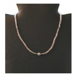 Creation indian silver necklace - Pink Quartz