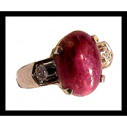 Indian ring silver rhodium - Star Sapphire (Ruby)