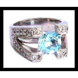 Indian ring silver rhodium - Topaz