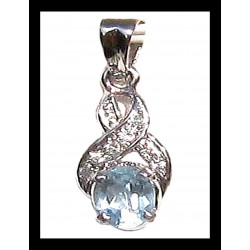 Indian pendant silver rhodium - Topaz