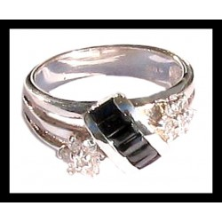 Indian ring silver rhodium - Zirconium