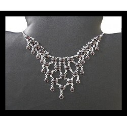 Indian silver necklace - Garnet